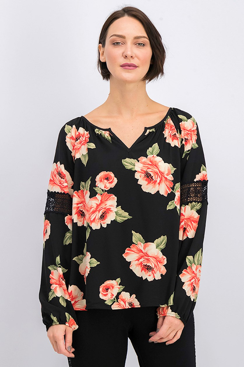 Women's Floral Print Top, Black