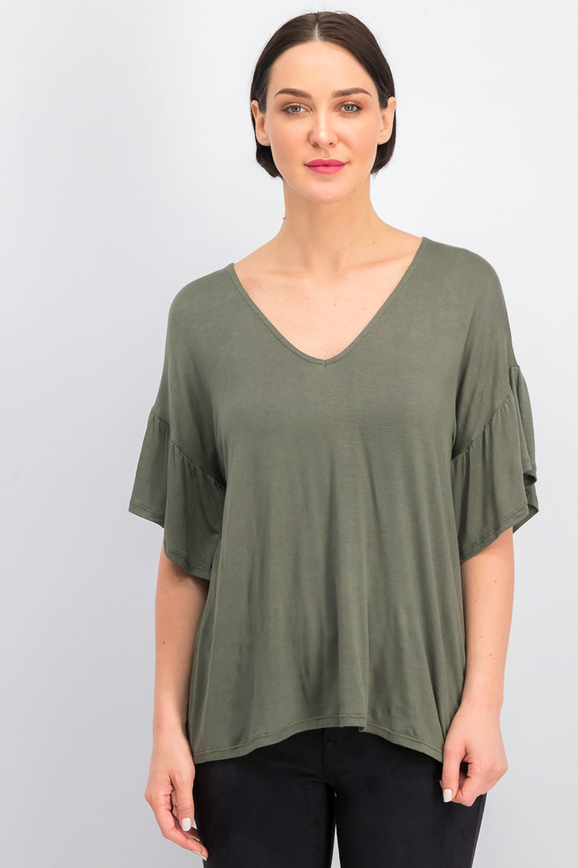 Women's V-neck Blouse, Olive