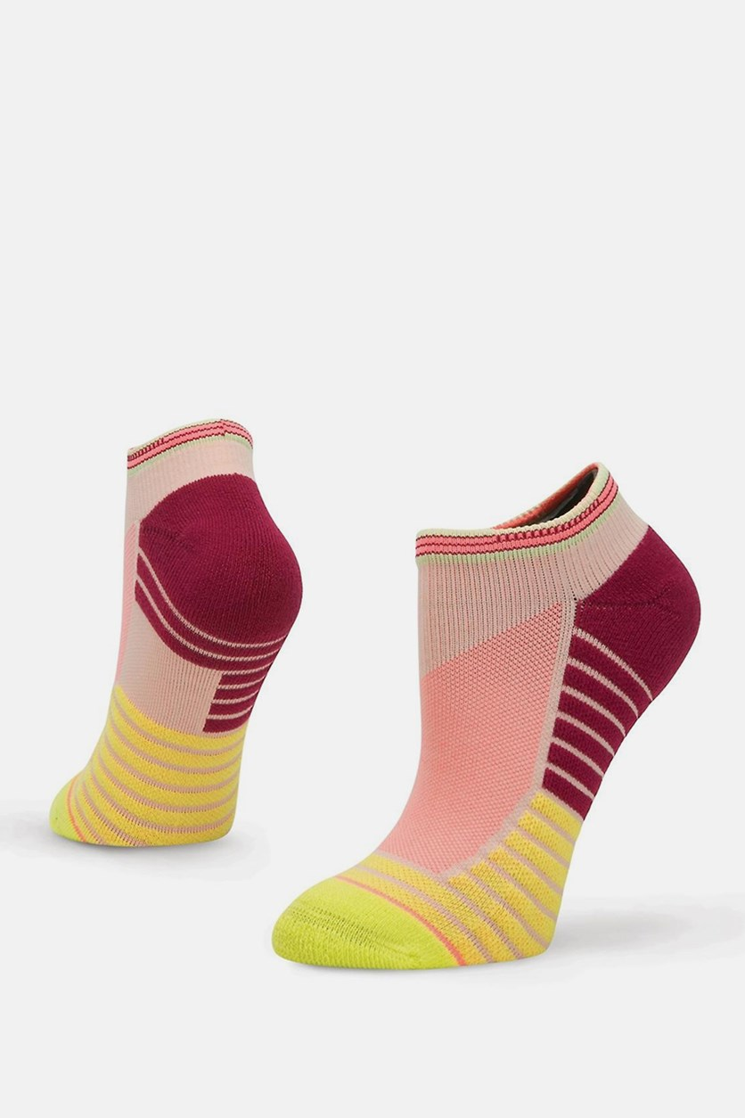 Women's Athletic Record Low Height Socks, Lime Combo