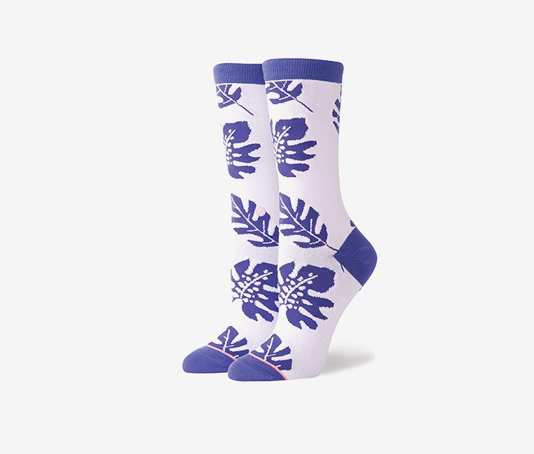 Women's Carmen Socks, Purple/White