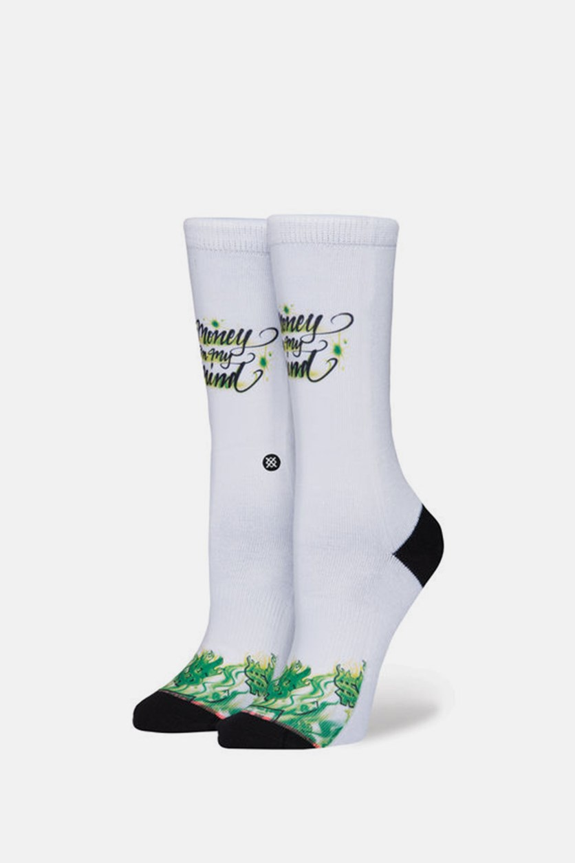 Women Mind On Money Socks, White