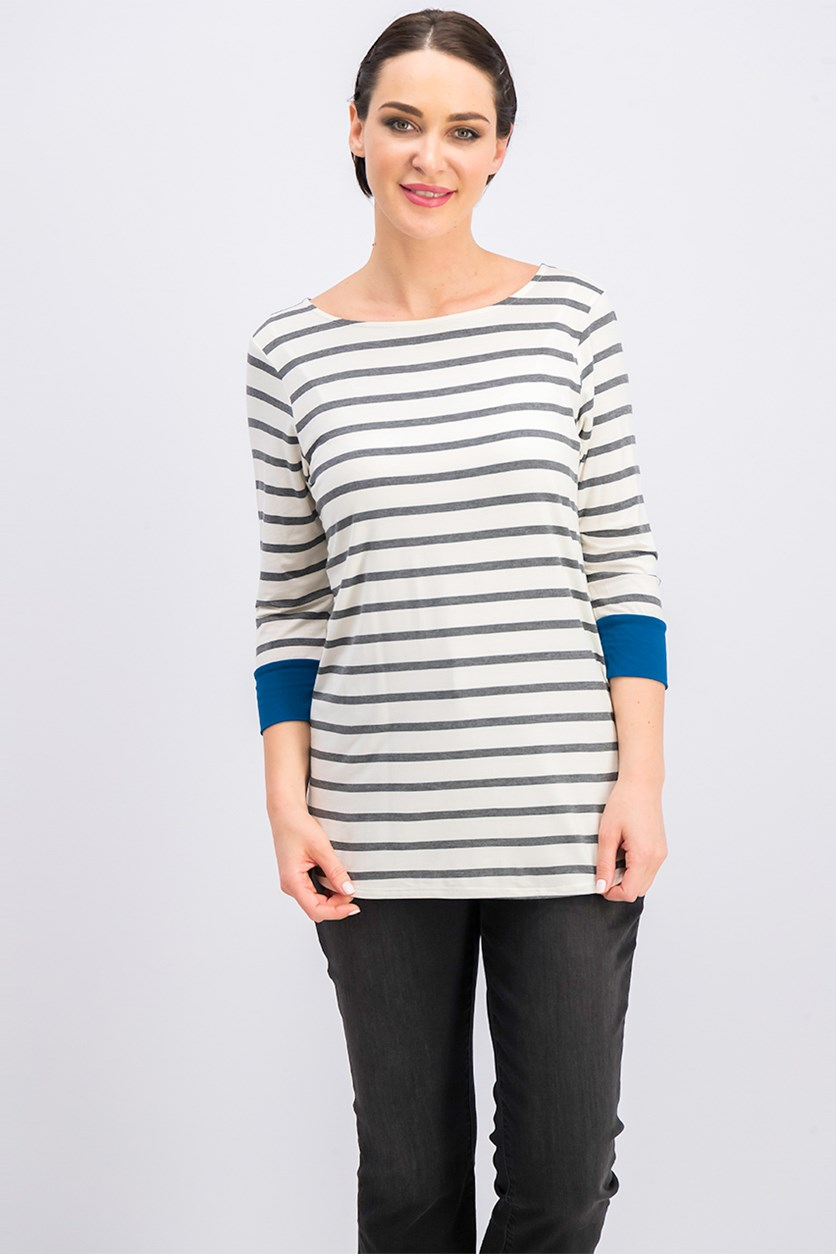 Women's Three-Quarter Striped Blouse, Grey/Ivory/Blue