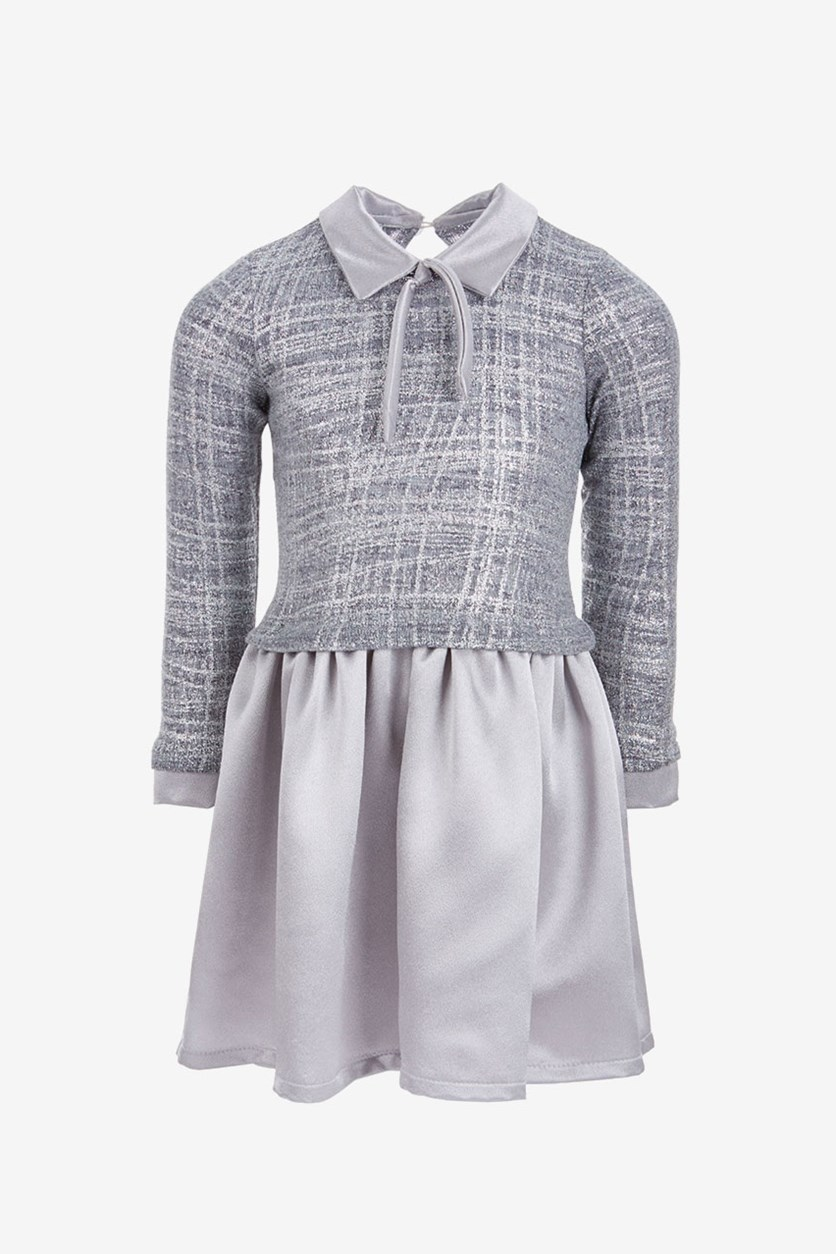 Toddlers Girls Layered-Look Knit Dress, Silver
