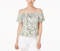 Guess Women's Amore Printed Off-The-Shoulder Top, Green