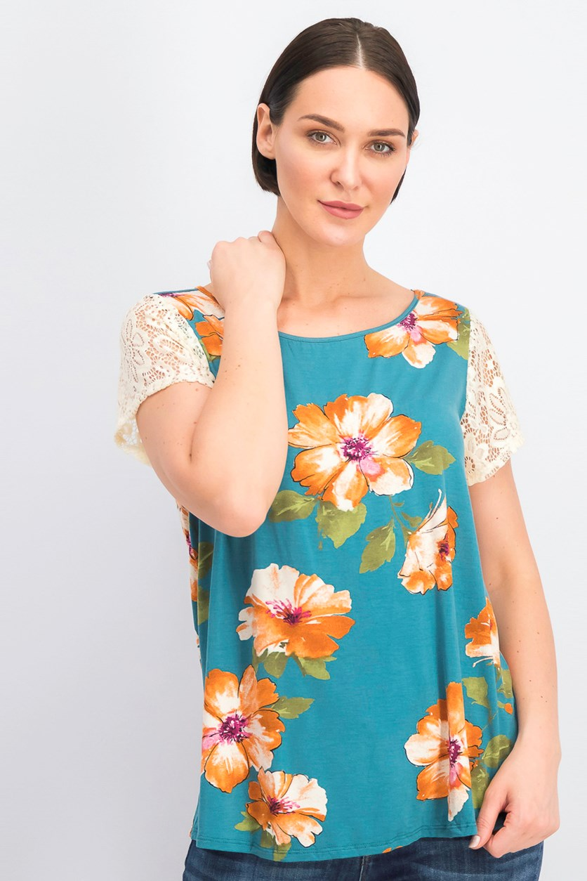 Women's Plus Size Lace-Shoulder Floral-Print Tops, Green