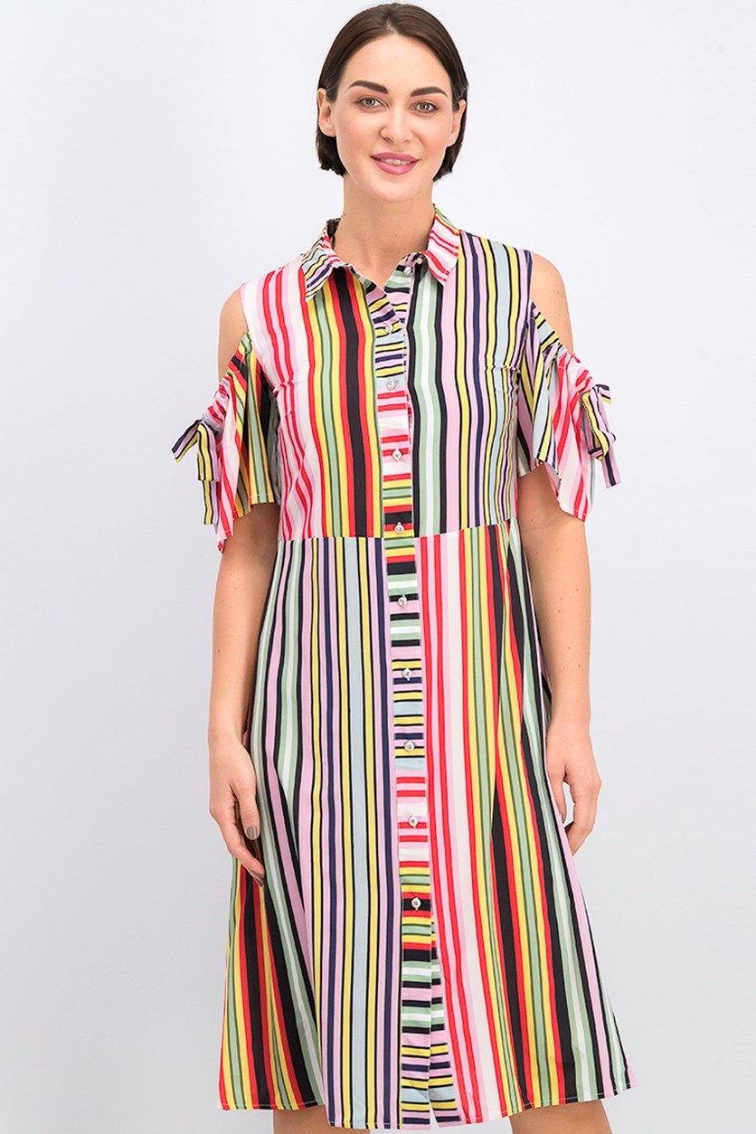 Women Striped A Line Dress, Pink Combo