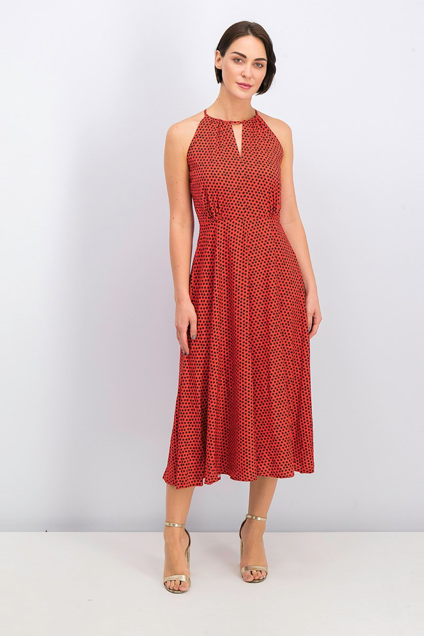 Women's Polka Dots Halter Dress, Red