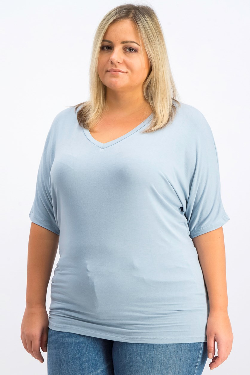 Women's V-Neck Top, Light Blue
