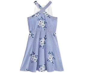 Crystall Doll Girl's Embroidered Cage-Back Dress, Blue/White