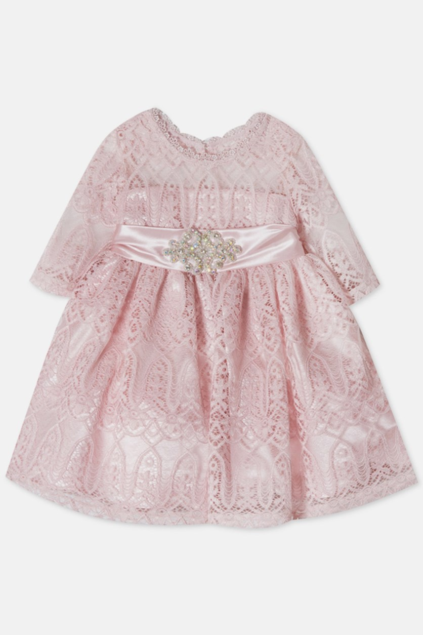 Toddler Girls Embellished Lace Illusion Dress, Pink