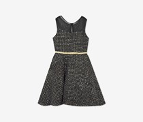Rare Editions Toddler Girls Illusion-Neck Fit & Flare Dress, Charcoal