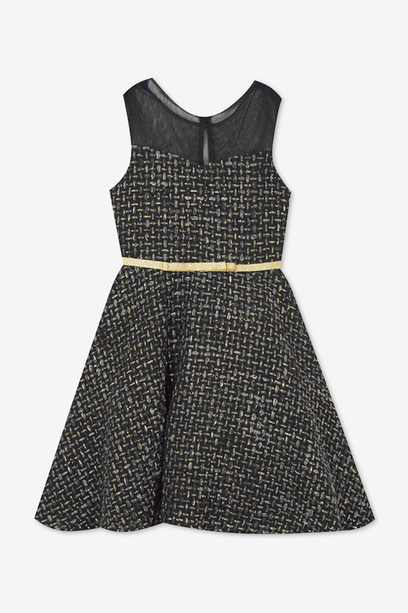 Toddler Girls Illusion-Neck Fit & Flare Dress, Charcoal