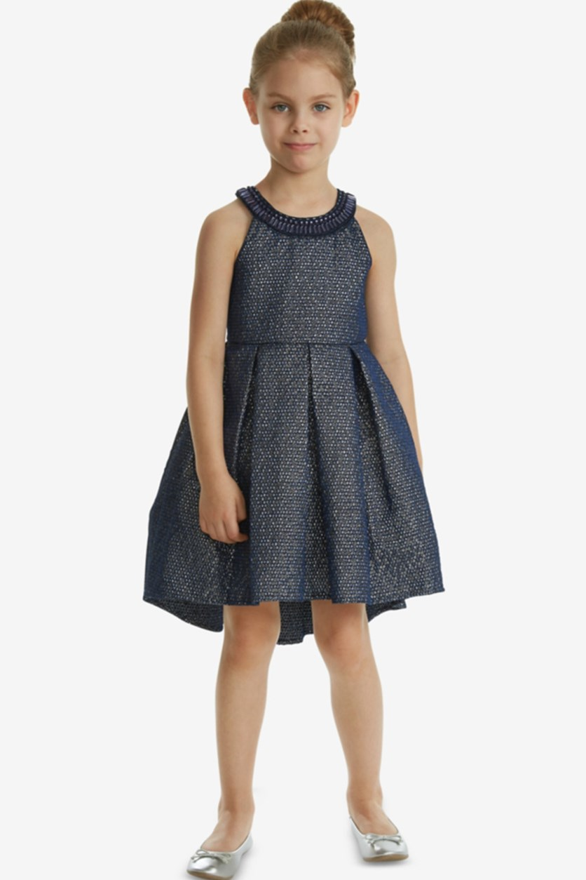 Girls Kids Embellished-Neck Jacquard Dress, Navy