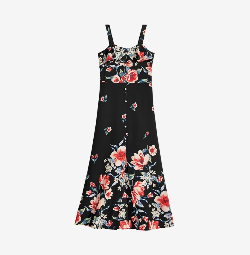 Girls Floral-Print Maxi Dress, Black