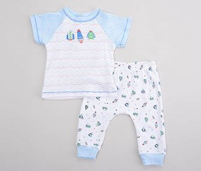 Rene Rofe Baby Boy's 2 Pcs Set, White/Blue