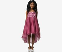 Bonnie Jean Girls Embroidered Empire-Waist Party Dress, Burgundy