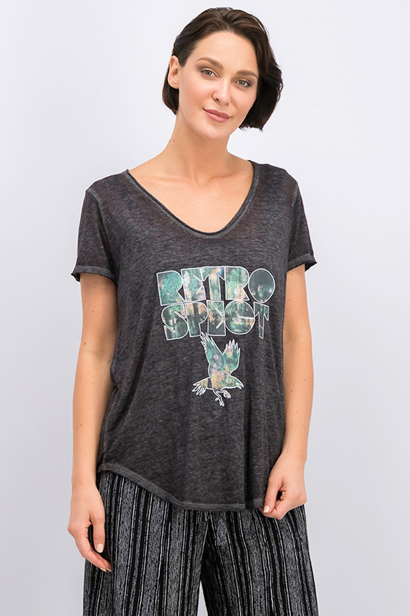Retrospect Graphic-Print T-Shirt, Charcoal