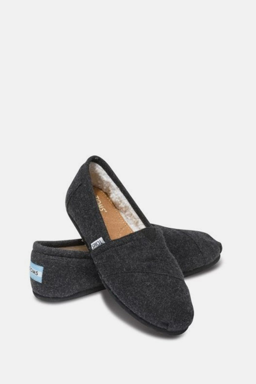 Women Classic Flat Shoes, Black Woolen
