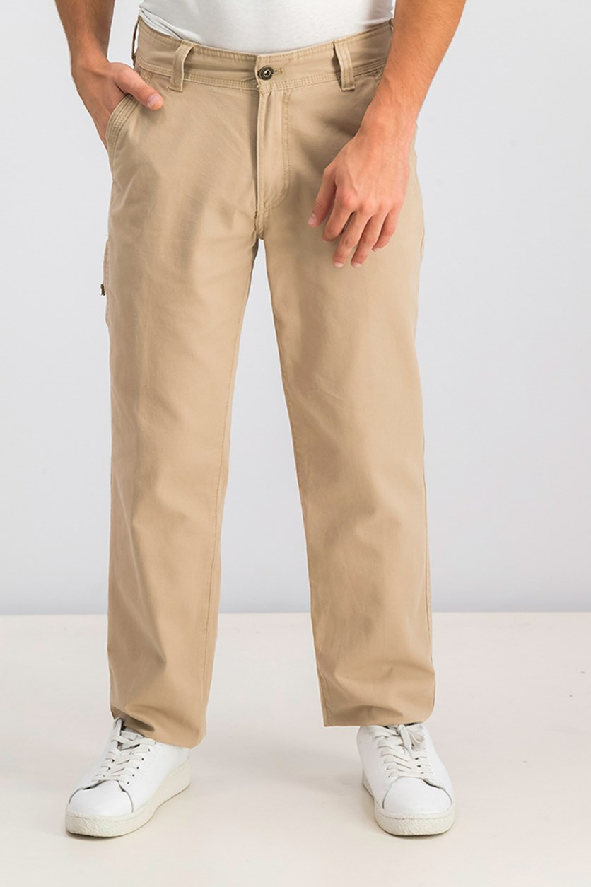 Mens Canvas Casual Cargo Pants, Cedarwood Khaki