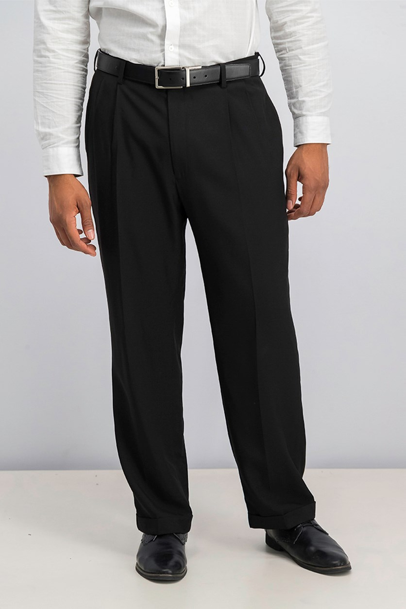 Classic-Fit Double Pleated Dress Pants, Black