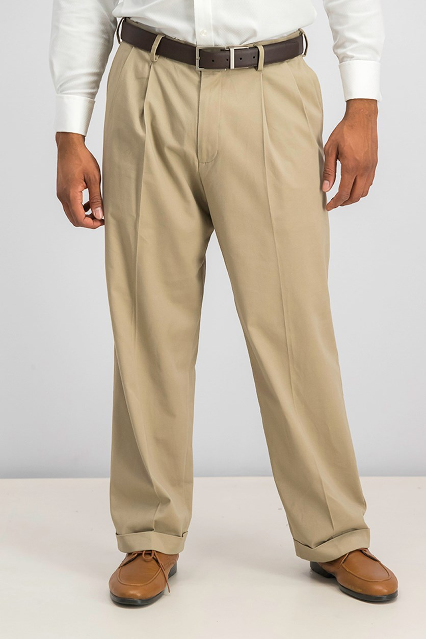 Men's Relaxed Fit Comfort Khaki Pleated Pants, British Khaki