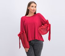 Vince Camuto Womens Tie Sleeves Sheer Pullover Top, Claret