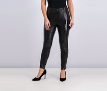 1.state Women's Faux-Leather Pull-On Leggings, Black