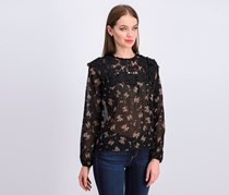 1. State Women Floral Lace Blouse, Black Combo