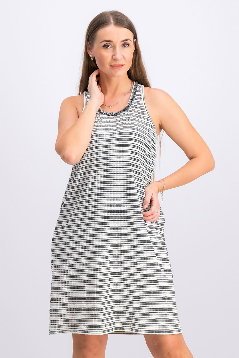 Women's Striped Dress, Black/White