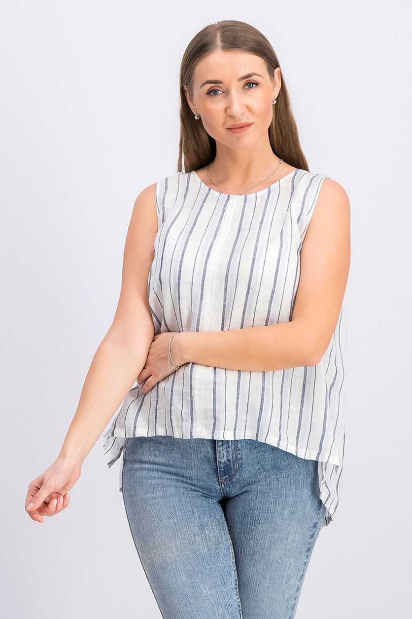Women's Linen Lace-up Tunic Top, Dew Blue