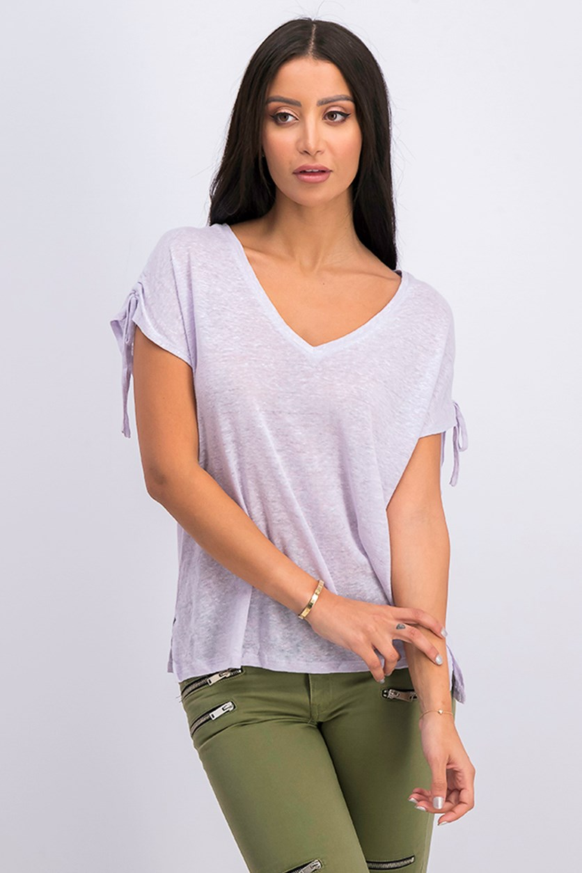 Womens Linen Burnout Pullover Top, Lilac