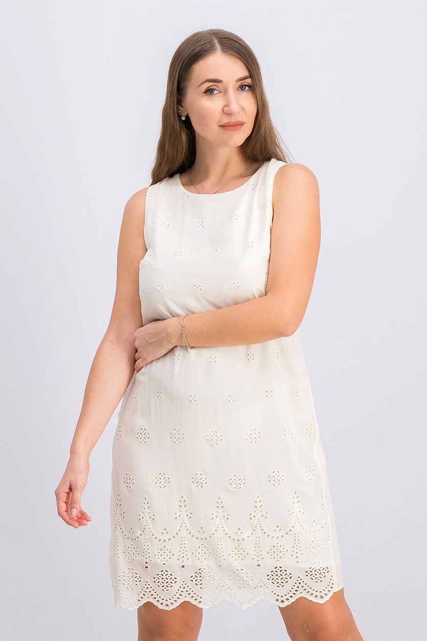 Women's Scalloped Eyelet Shift Dress, Antiq White