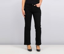 Lainey Curvy Black Wash Bootcut Jeans, Black