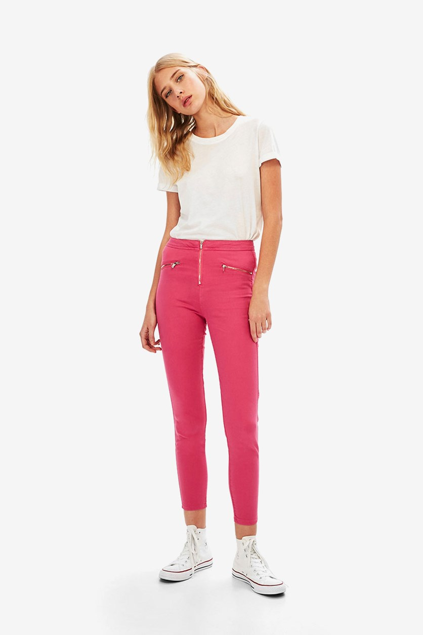 Women's Faux Zippered Pants, Pink