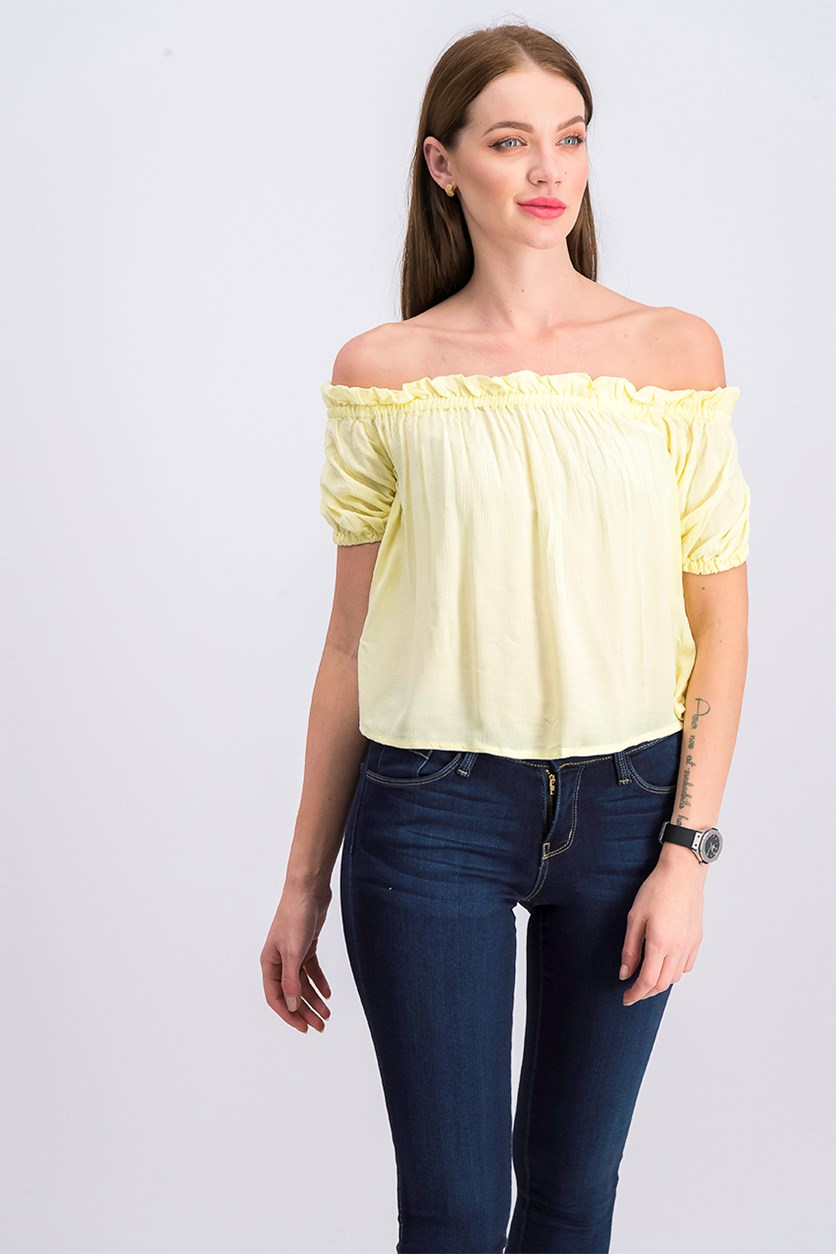 Women's Off-The-Shoulder Tops, Yellow