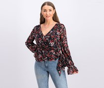 Lucy Paris Womens Floral Faux Wrap Pullover Top, Black/Red Combo