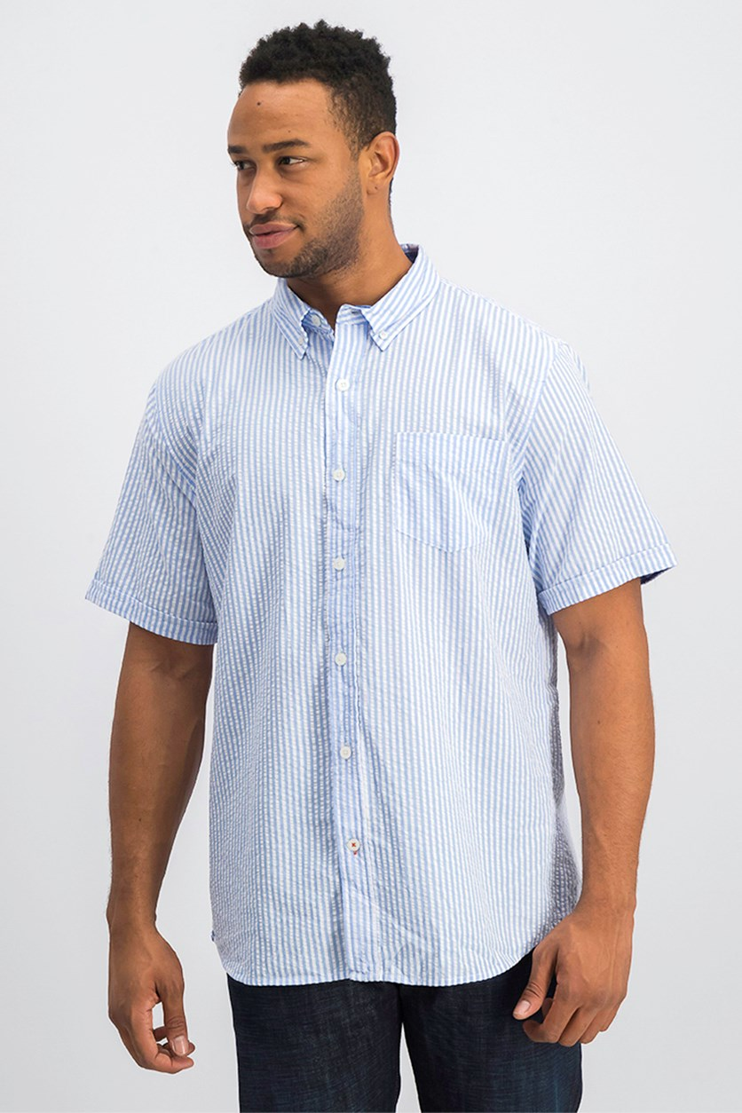 Vintage Mens Seersucker Shirt, Stripe Pocket Blue
