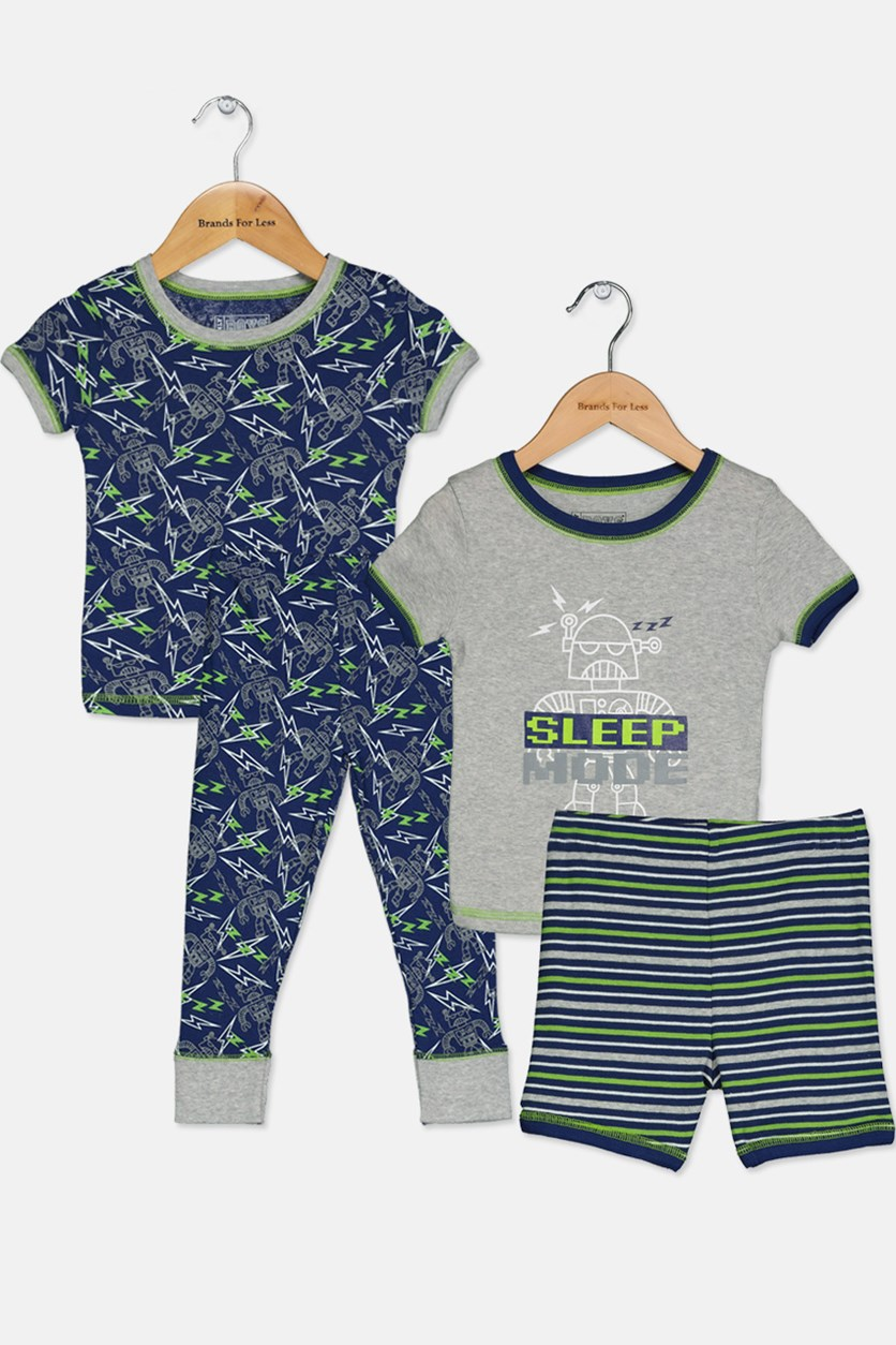 Toddlers 4 Piece  Short Sleeve T-Shirt Short & Pajama Sleepwear Set, Gray/Blue