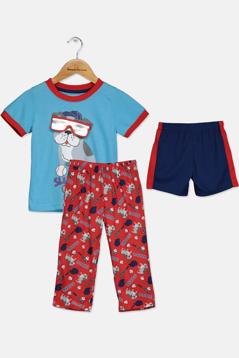 Toddlers Boys 3piece Short Sleeve T-Shirt Short & Pajama Sleepwear Set, Blue/Red