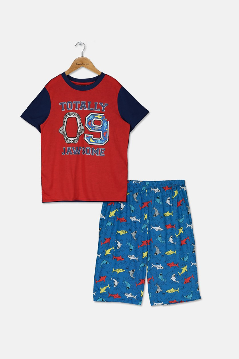 Kids T-Shirt & Short Sleepwear Set, Navy/Red/Blue