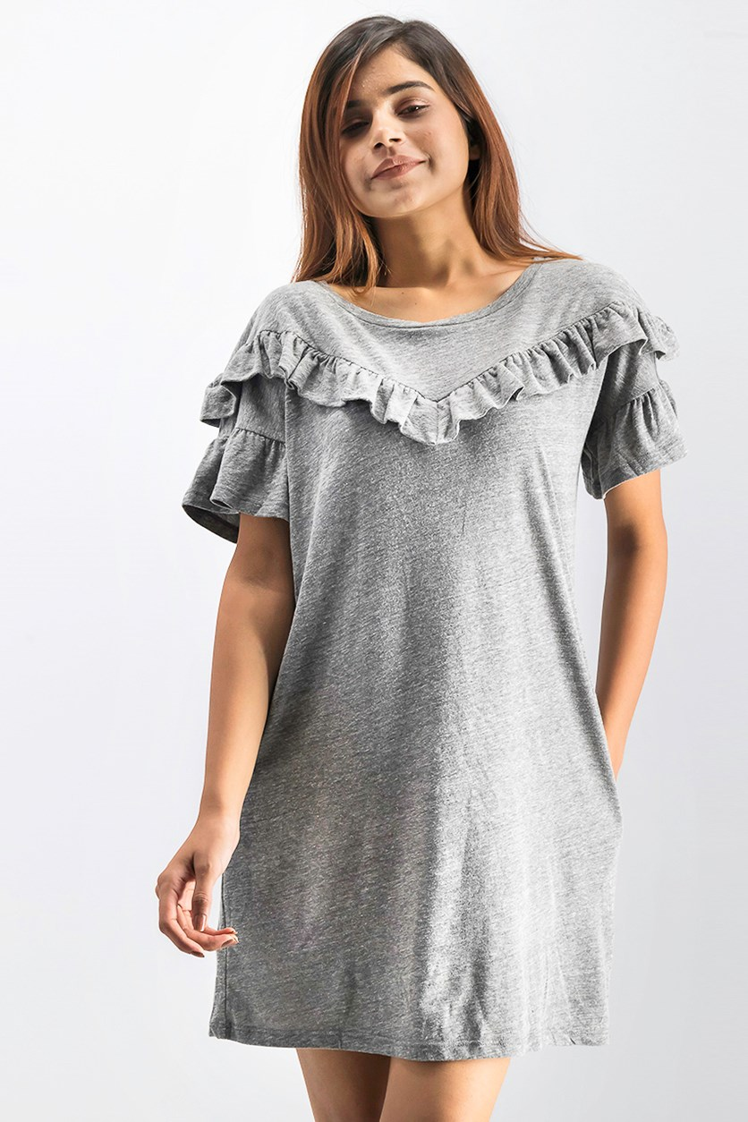 Womens Adalie Short Sleeves Mini T-Shirt Dress, Heather Grey