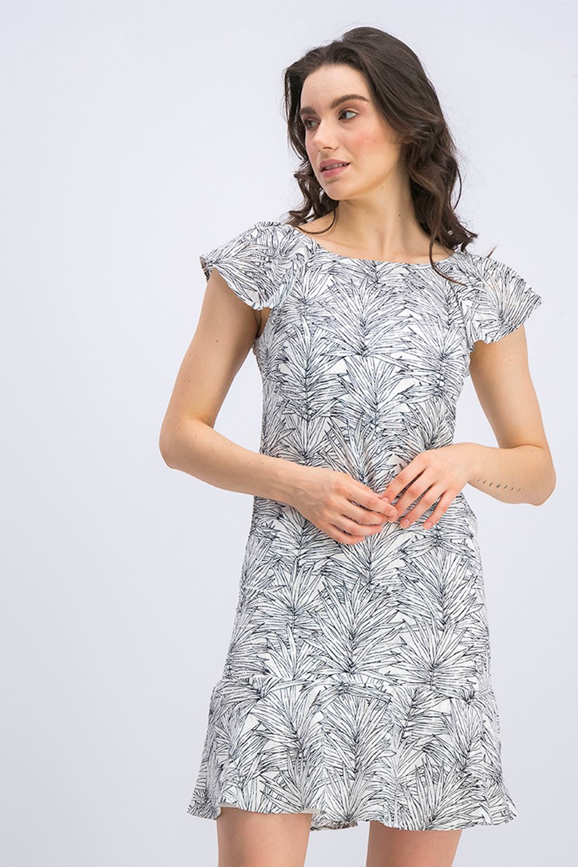 Women's Leaf Print Shift Dress, Black/White