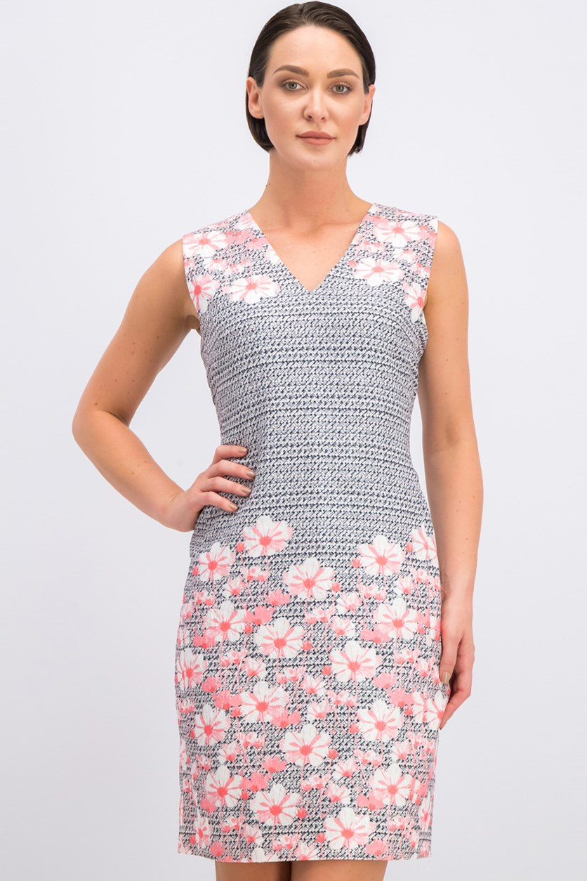 Women's V-Neck Floral Dress, Pink Combo