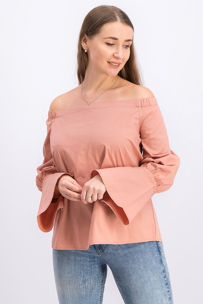 Women's Coye Poplin Off-the-Shoulder Top, Rose