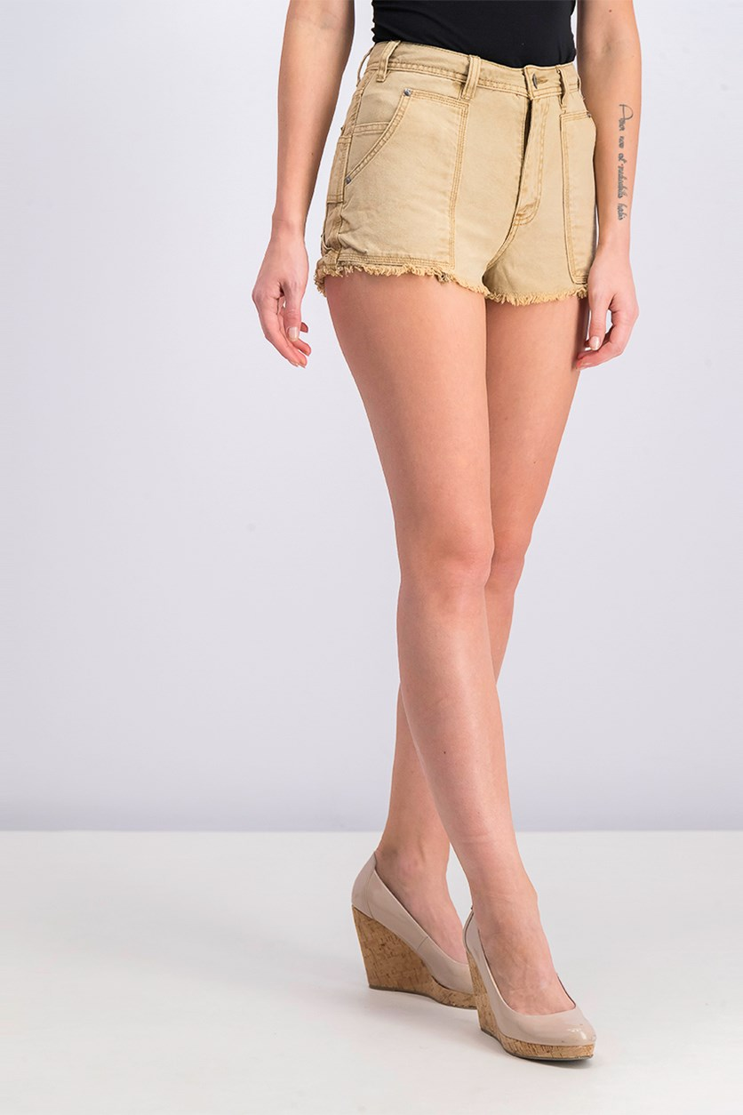 Get Far Cotton Cutoff Denim Short, Khaki