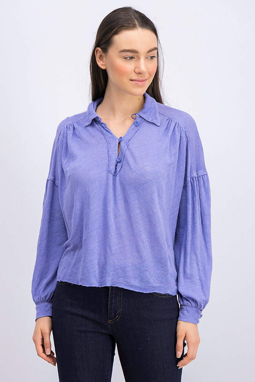 Women's Blue Rush Hour Long Sleeve Top, Periwinkle