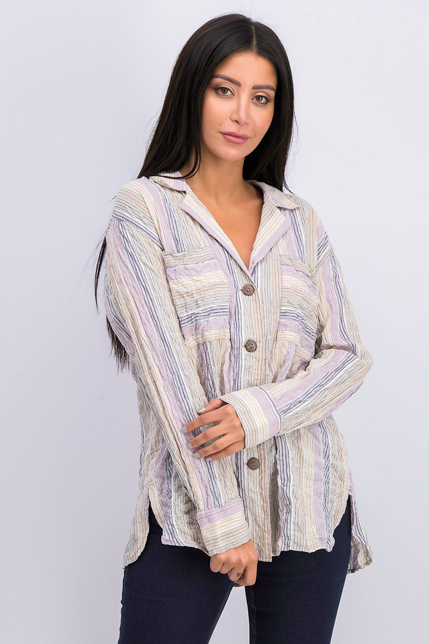 Purple High Tide Stripe Top, Purple Combo