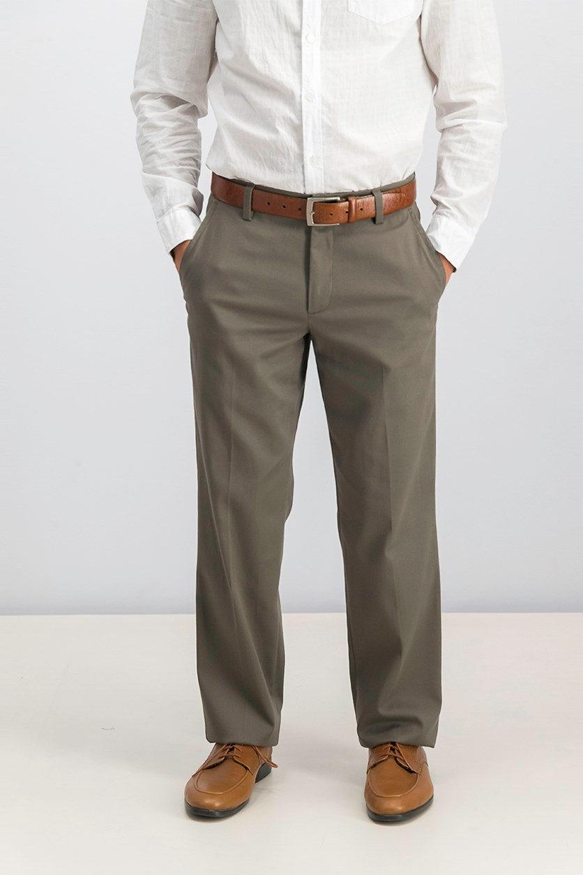 Men Stretch Straight Fit Pants, Brown