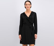 Calvin Klein Ruffled Wrap Dress, Black