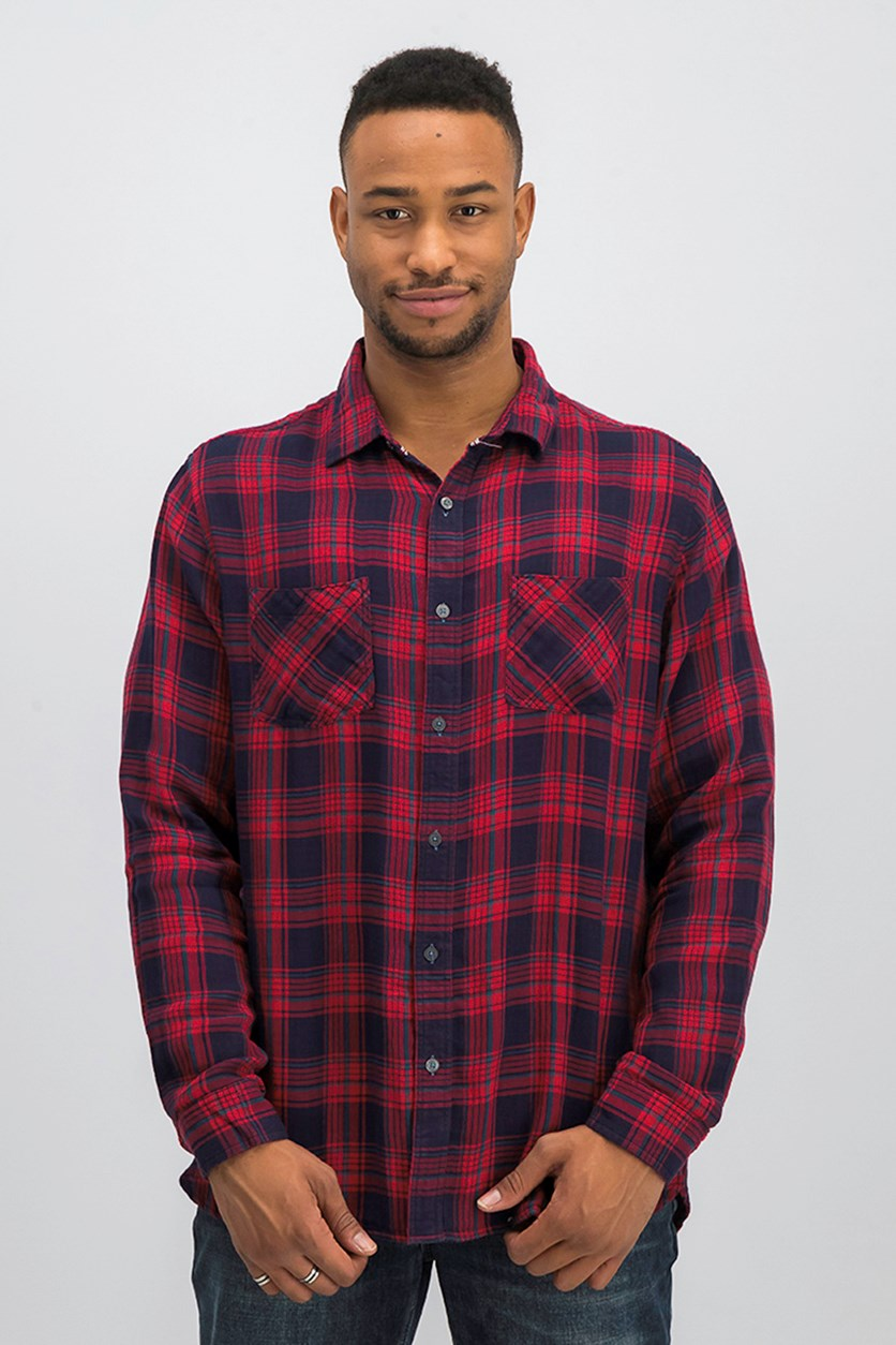 Men Long Sleeve Casual Shirt, Red/Navy